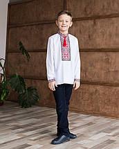 Дитяча вишиванка для хлопчика з червоним орнаментом, фото 2