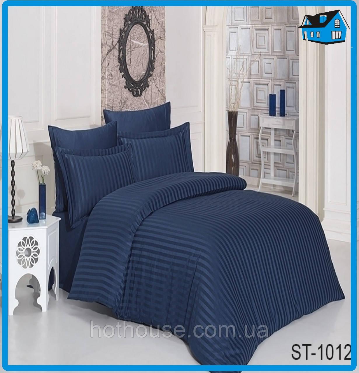 Полуторное постельное белье Страйп Сатин