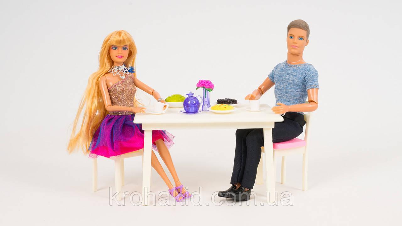 """Игровой набор кукол типа Барби и Кен 8387 """" Кафе"""" - мебель, посуда, продукты"""