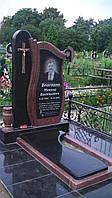 Пам'ятник одинарний з чорного і червоного граніту