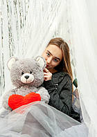 """Мягкая плюшевая игрушка медвежонок """"Фрэнк"""" 65см. Цвет Серый.  Подарок для любимой"""