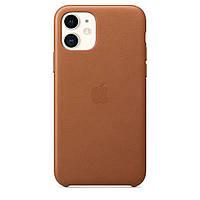 Чехол накладка на iPhone 11 good Leather Case saddle brown