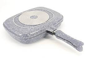 Двойная сковорода-гриль 32 см для гриля и жарки двухсторонняя с мраморным покрытием A-PLUS FP-1500 Серый
