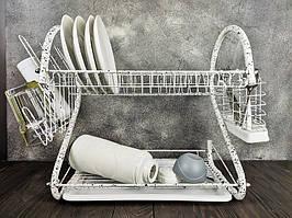 Сушилка для посуды настольная 2 яруса 56 см с поддоном сушка Edenberg EB-2109M Белый