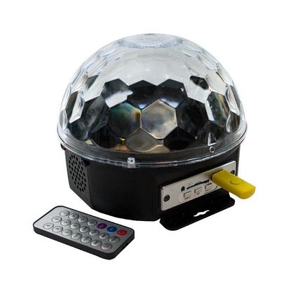 Диско шар с mp3. Разноцветный диско шар с МП3 плеером. LED Magic Ball Light MP3 С кнопками +Пульт + флешка, фото 2