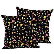 Декоративная подушка шелк интерьерная, размер 45*45 см Мозайка черная