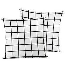 Декоративная подушка шелк интерьерная размер 45*45 см Белая клетка
