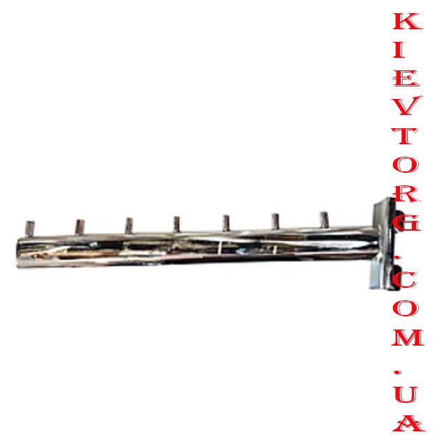 Кронштейн (флейта) в рейку хром 30 см на 7 гвоздиков