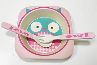 Набор детской бамбуковой посуды Eco Bamboo fibre kids set  3 предмета R83772 Pink