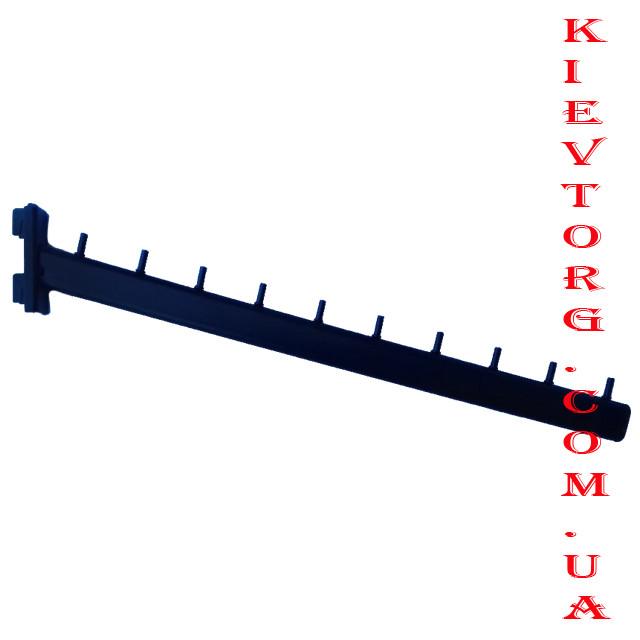 Кронштейн (флейта) в рейку наклонный черный на 10 гвоздиков