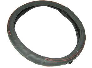 Оплетка кожа подарочная 1190 L черная с красн.нитк