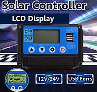10A PWM (ШИМ) контроллер заряда солнечной панели 12/24В с ЖК-дисплеем Excellway, 2-мя USB портами, фото 1