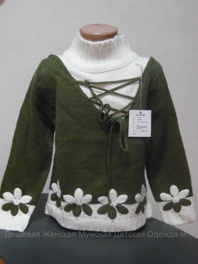 Детский свитер зеленый