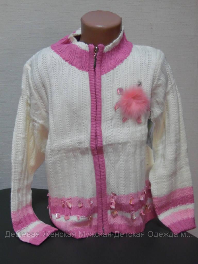 Детский свитер бело-розовый
