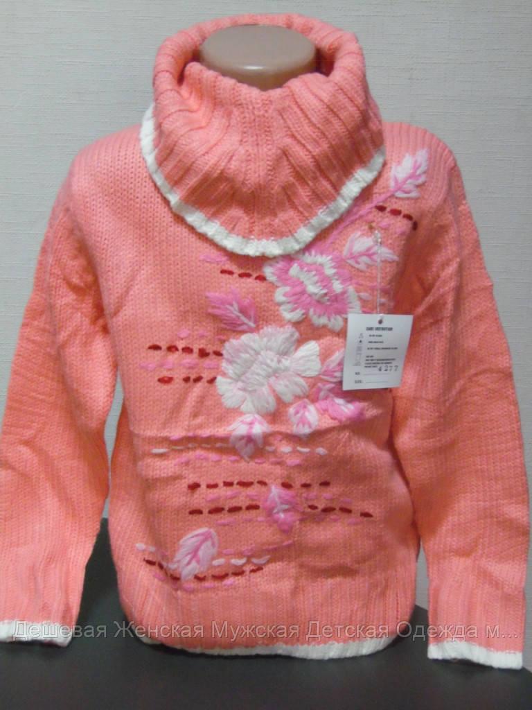 Детский свитер гольф персик