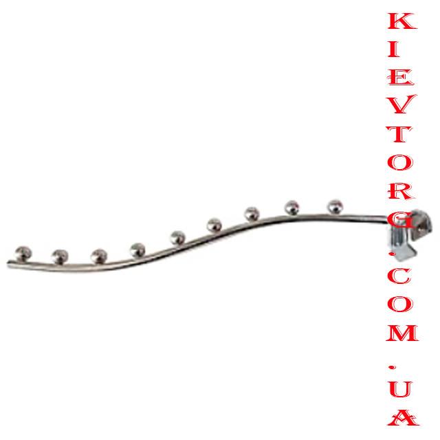 Кронштейн (флейта) волнистый на перемычку, 35 см, хром на 9 шариков