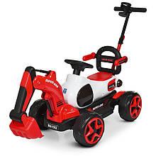 Трактор каталка-электромобиль с родительской ручкой КРАСНЫЙ арт. 4192-3
