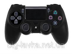 Силиконовый чехол для геймпада DualShock 4 (PS4) противоскользящий  Черный
