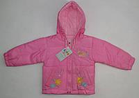 Куртка принт на кармашиках дев. розовая цветы весна-осень, холлофайбер подклад флис 23131 Китай L (74см)(р)