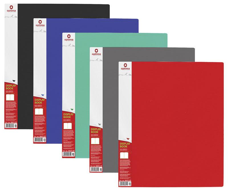 Папка с 40 файлами А4 Optima Полоса в ассорт. O30674