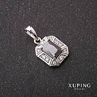 Кулон Xuping с камнем цвет черный 10х12х20мм родий
