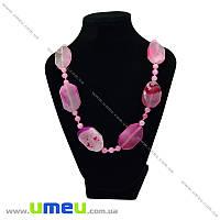 Бусы из натурального камня Агат розовый, 59 см, 1 нить (BUS-028743)