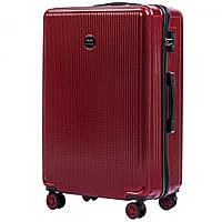 Большой чемодан 100 % POLICARBON Wings PC565 на 4 колесах размер L Бордовый