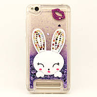 Чехол Glitter для Xiaomi Redmi 4a бампер жидкий блеск Заяц Фиолетовый