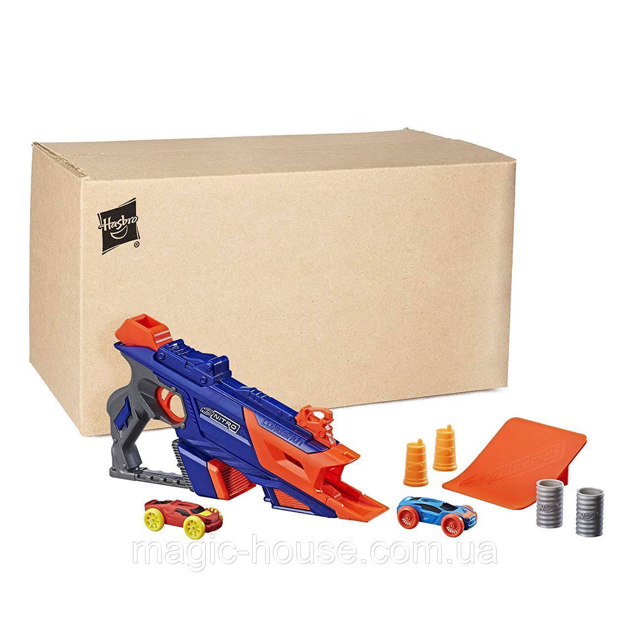 Бластер Nerf стріляє машинками Лонгшот Nerf Nitro LongShot Smash (еко упаковка)