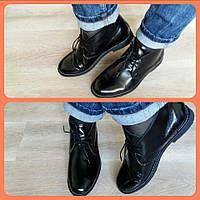 Полуботинки женские кожа лакированная / Women's low ankle boots lacquered leather