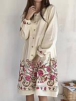 Платье с цветной вышивкой на пуговицах, Розовый
