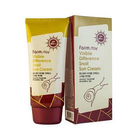 Солнцезащитный крем с экстрактом улитки Farmstay Visible Difference Snail Sun Cream SPF50+ PA+++ 70 г (8809426954070)