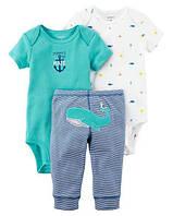 Комплект тройка Картерс Carters для мальчика, белый и зеленый 12М ( 72-78 см)