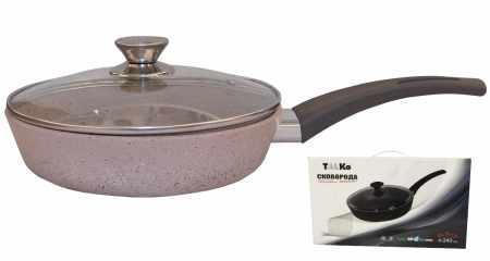 Сковорода Талко Веста 26 см. с антипригарным покрытием и крышкой светло-серый гранит AA51263
