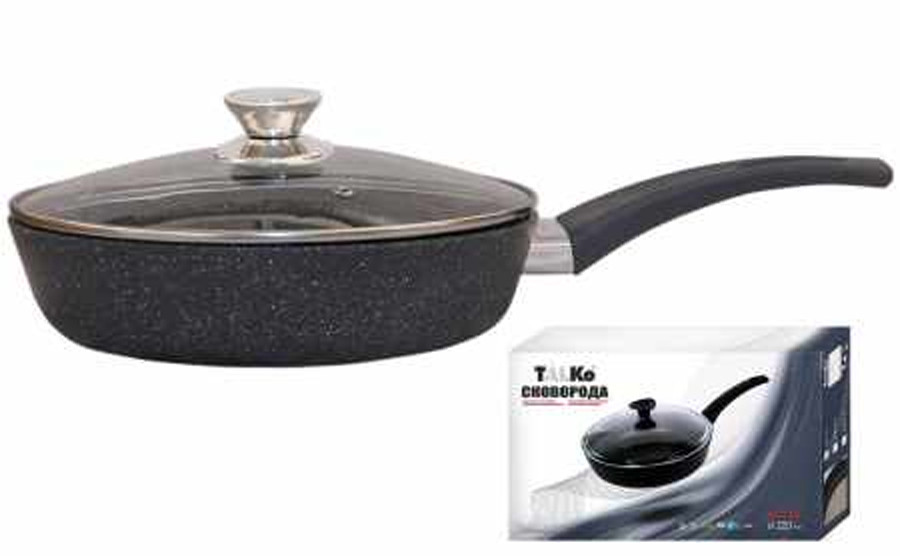 Сковорода Талко Веста 24 см. с антипригарным покрытием и крышкой темно-серый гранит AD51243
