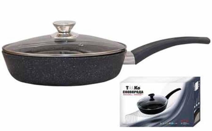 Сковорода Талко Веста 24 см. с антипригарным покрытием и крышкой темно-серый гранит AD51243, фото 2