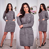 Женское платье 2943 большой размер (48 50 52) (цвет серый) СП