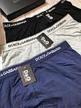 Подарунковий набір чоловічих трусів Dolce & Gabbana 3 шт. Бавовна труси Дольче Габбана нижня білизна репліка, фото 5