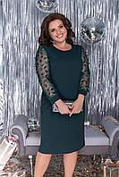 Женское платье 272 большой размер (52,54,56,58,60) (цвет бутылка) СП, фото 1
