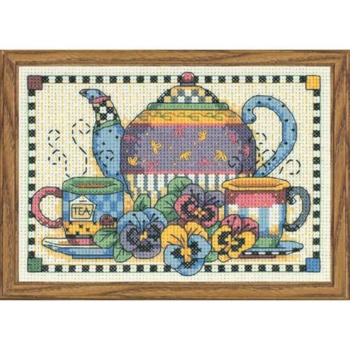 Набір для вишивки хрестом «Час вечірнього чаю» / «Teatime Pansies» DIMENSIONS