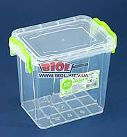 Контейнер 1,4 л харчової 161х112х145мм пластиковий високий з ручками, кришкою Premium №02 Ал-Пластик, фото 1