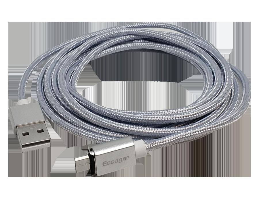 Магнитный кабель micro-usb FEL3.0, Essager 3А, серебристый 2 м
