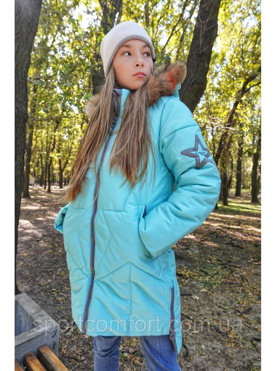 Подростковое пальто Freever для девочек малина, пудра, бирюза