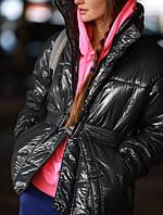 Стильная лаковая женская куртка (Норма)