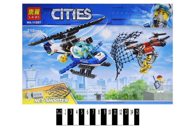 """Конструктор """"CITIES"""" """"Повітряна поліція: гонитва дронів"""" кор. 210дет. 29*20*6см /48/"""