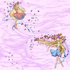 Обои на стену бумажные розовые с феями сказка 0,53*10м