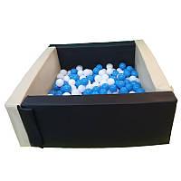 Сухой бассейн черно-белый квадратный 110х110х40 см
