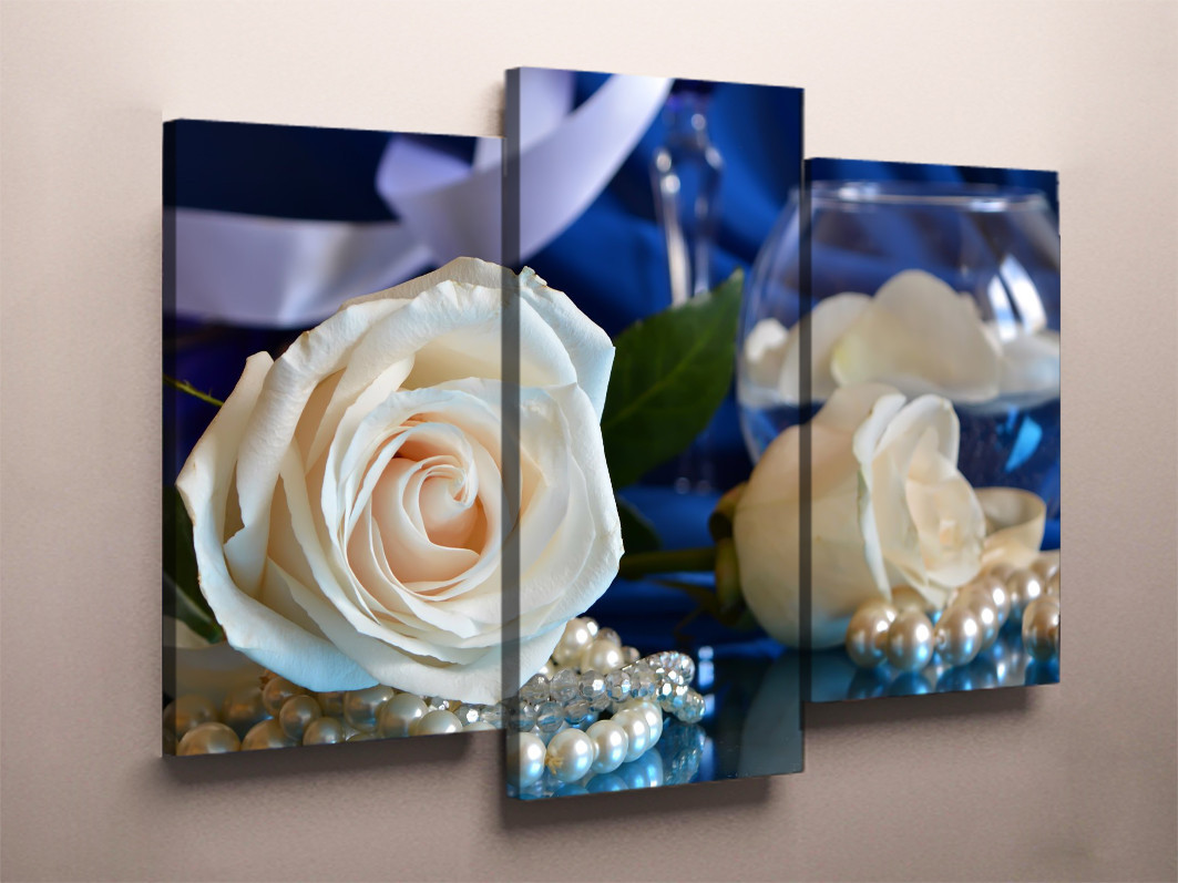 Модульная картина на холсте 90х60 Белые розы