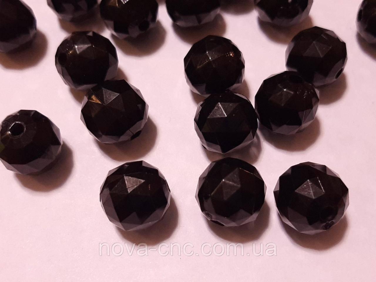 """Бусины акрил """"Шар треугольная грань"""" черный 14 мм 500 грамм"""