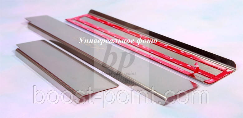 Защитные хром накладки на внутренние пороги (на пластик) Hyundai i20 FL(хюндай ай20) 2012+